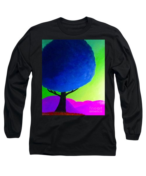 Long Sleeve T-Shirt featuring the painting Blue Tree by Anita Lewis