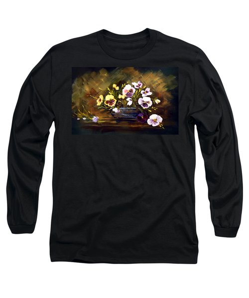 Long Sleeve T-Shirt featuring the painting Blue Vase With Pansies by Dorothy Maier