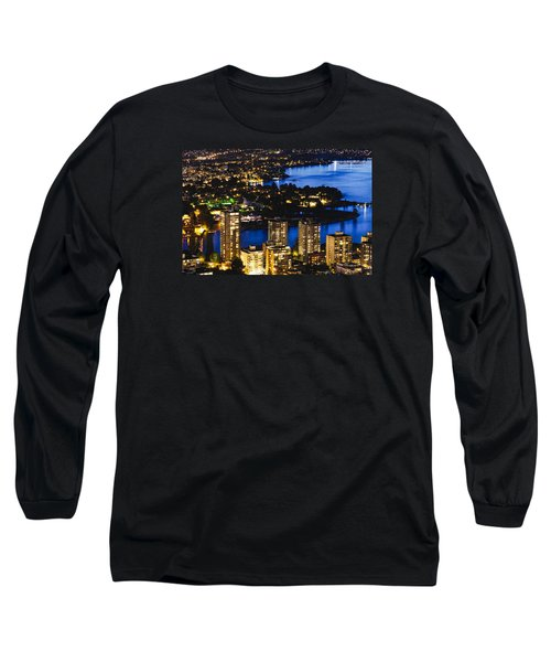 Long Sleeve T-Shirt featuring the photograph Blue Water Kitsilano Beach Mcdix by Amyn Nasser