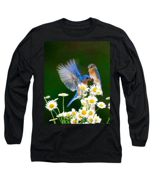 Bluebirds And Daisies Long Sleeve T-Shirt
