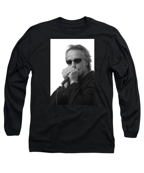 Bluesman James Montgomery Long Sleeve T-Shirt by Mike Martin