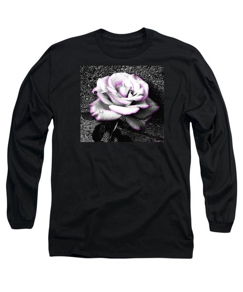 Long Sleeve T-Shirt featuring the photograph Blushing White Rose by Shawna Rowe