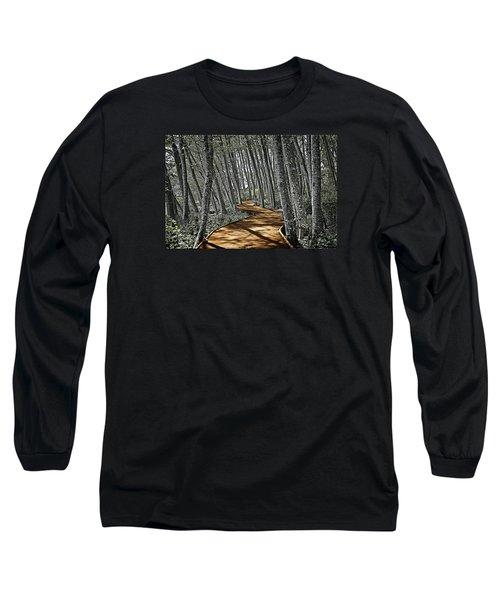Boardwalk In The Woods Long Sleeve T-Shirt by Richard Farrington