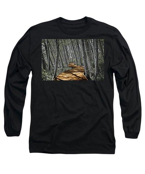 Boardwalk In The Woods Long Sleeve T-Shirt