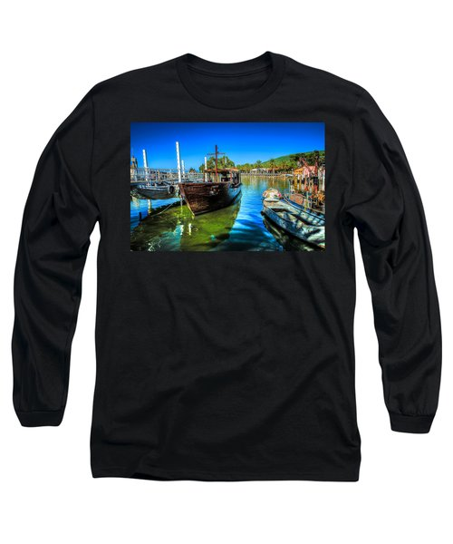 Boats At Kibbutz On Sea Galilee Long Sleeve T-Shirt