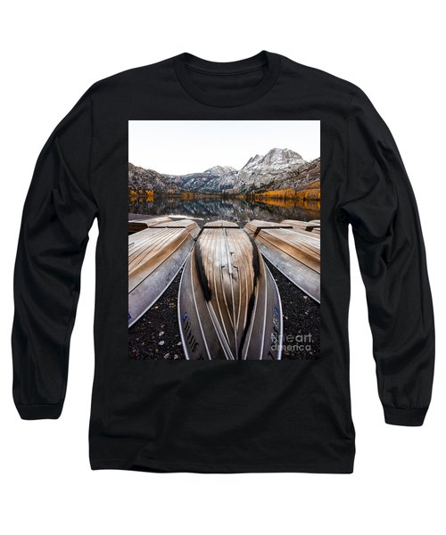 Boats At Mountain Lake In Autumn Fine Art Photograph Print Long Sleeve T-Shirt by Jerry Cowart