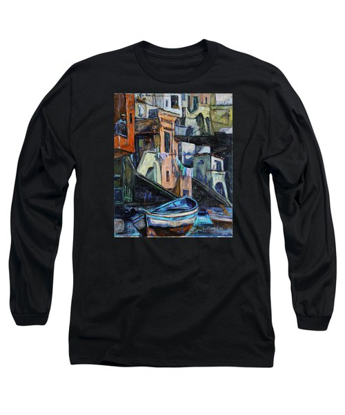 Long Sleeve T-Shirt featuring the painting Boats In Front Of The Buildings I  by Xueling Zou