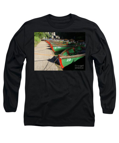 Long Sleeve T-Shirt featuring the photograph Boats Waiting For Kids by Doc Braham