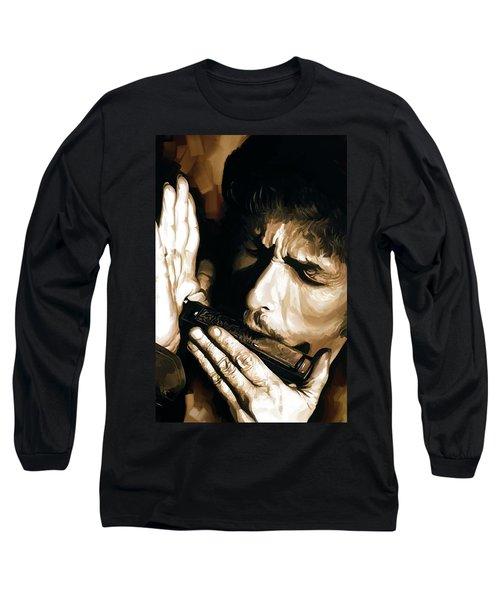 Bob Dylan Artwork 2 Long Sleeve T-Shirt by Sheraz A