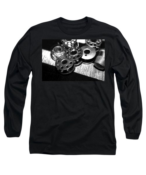 Bobbins 2 Bw Long Sleeve T-Shirt by Lesa Fine