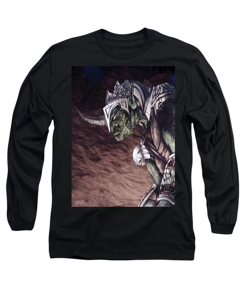 Long Sleeve T-Shirt featuring the mixed media Bolg The Goblin King 2 by Curtiss Shaffer