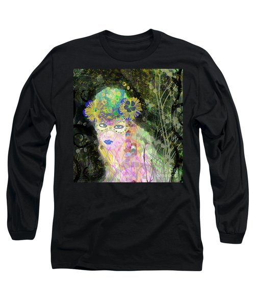 Long Sleeve T-Shirt featuring the mixed media Bonnie Blue by Kim Prowse