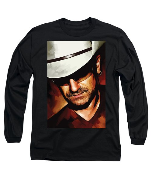Bono U2 Artwork 3 Long Sleeve T-Shirt by Sheraz A