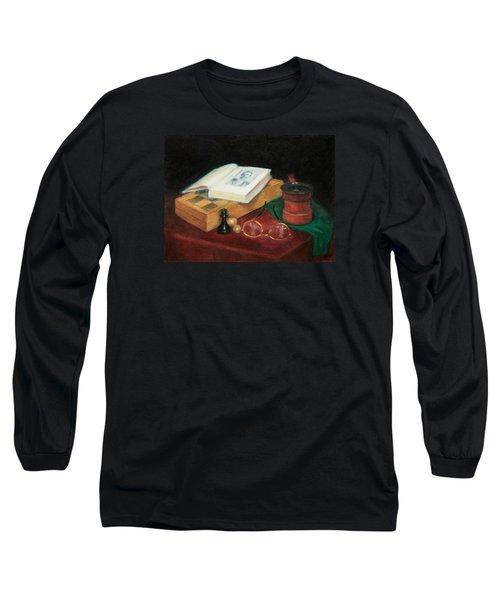 Books-chess-coffee Long Sleeve T-Shirt