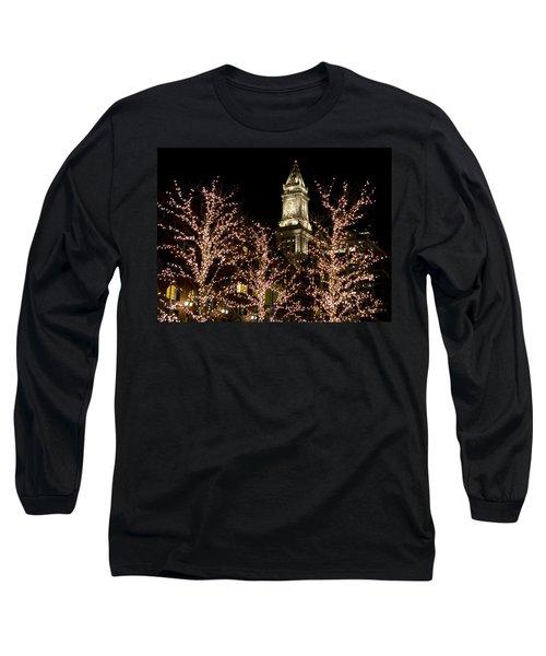 Boston Custom House With Christmas Lights Long Sleeve T-Shirt