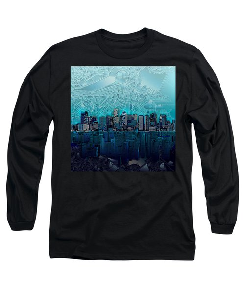Boston Skyline Abstract Blue Long Sleeve T-Shirt