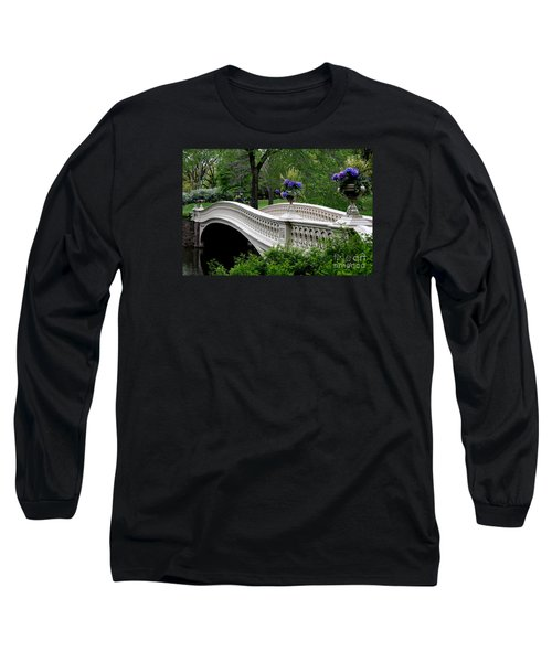 Bow Bridge Flower Pots - Central Park N Y C Long Sleeve T-Shirt by Christiane Schulze Art And Photography
