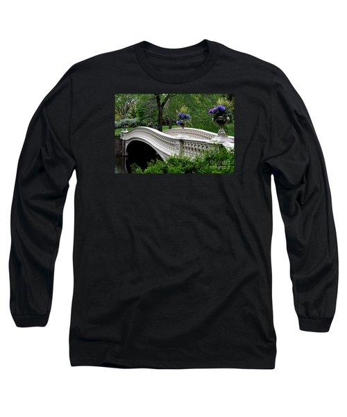 Bow Bridge Flower Pots - Central Park N Y C Long Sleeve T-Shirt