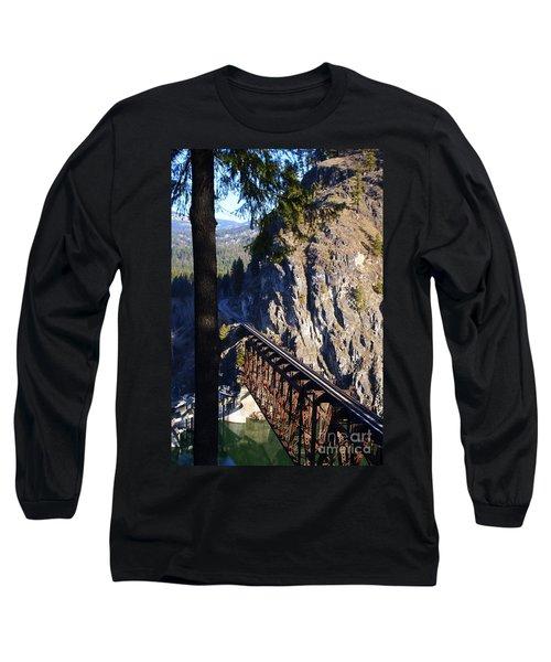 Box Canyon Dam Railroad Crossing Long Sleeve T-Shirt by Loni Collins