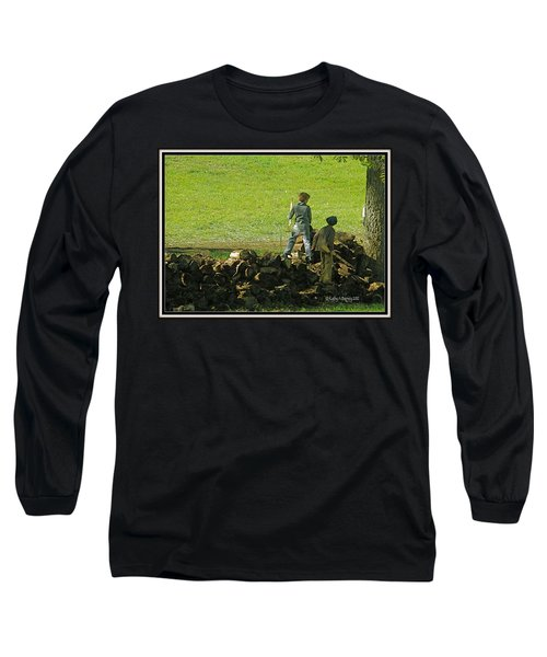 Long Sleeve T-Shirt featuring the photograph Boys Will Be Boys by Kathy Barney