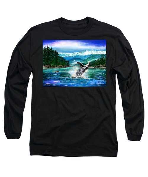 Breaching Humpback Whale Long Sleeve T-Shirt by Patricia L Davidson