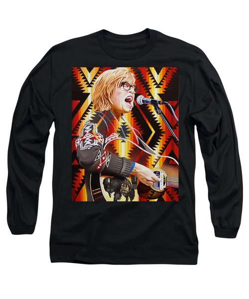 Long Sleeve T-Shirt featuring the painting Brett Dennen by Joshua Morton