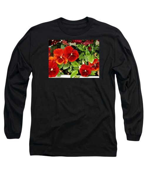 Long Sleeve T-Shirt featuring the photograph Brick Pansies by VLee Watson