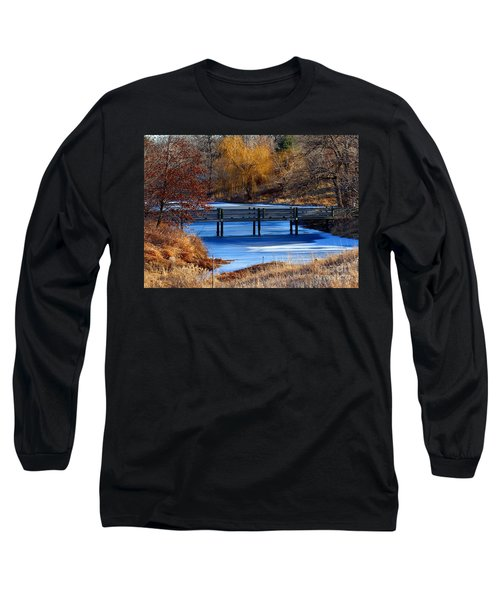 Long Sleeve T-Shirt featuring the photograph Bridge Over Icy Waters by Elizabeth Winter