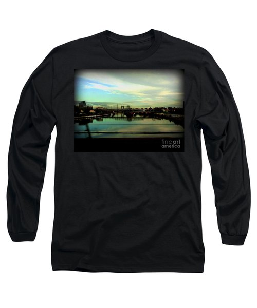 Long Sleeve T-Shirt featuring the photograph Bridge With White Clouds by Miriam Danar