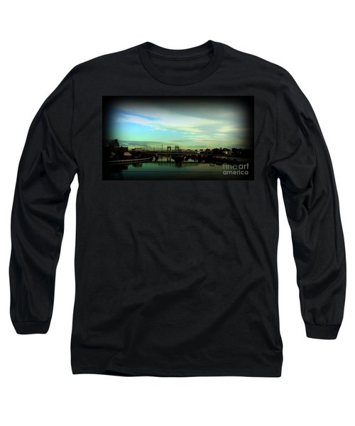 Long Sleeve T-Shirt featuring the photograph Bridge With White Clouds Vignette by Miriam Danar