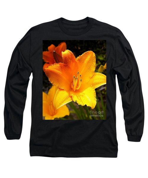 Bright Yellow Daylily Flower Long Sleeve T-Shirt