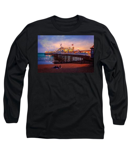Long Sleeve T-Shirt featuring the photograph Brighton's Palace Pier At Dusk by Chris Lord