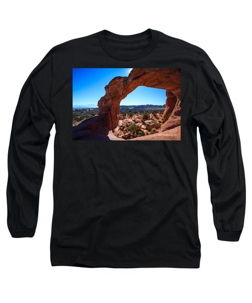 Long Sleeve T-Shirt featuring the photograph Broken Arch Under Blue Sky by Peta Thames