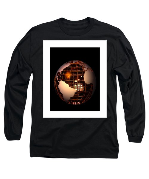 Long Sleeve T-Shirt featuring the digital art Bronze Globe... by Tim Fillingim