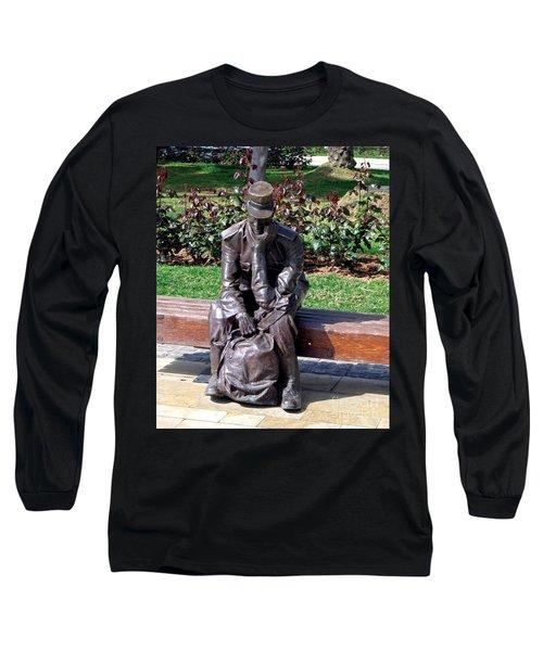 Bronze Mailman Resting Long Sleeve T-Shirt by Jay Milo