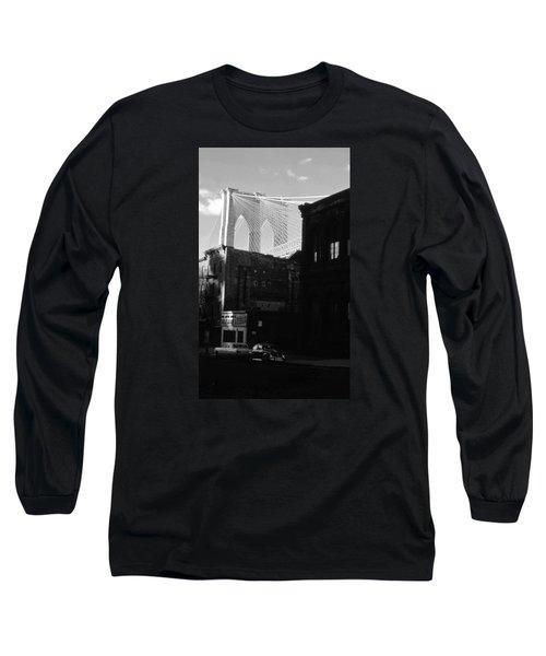 Long Sleeve T-Shirt featuring the photograph Brooklyn Bridge 1970 by John Schneider