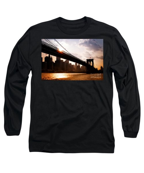 Brooklyn Bridge And Skyline Manhattan New York City Long Sleeve T-Shirt