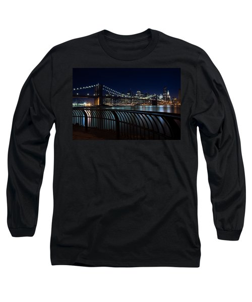 Brooklyn Bridge At Night Long Sleeve T-Shirt