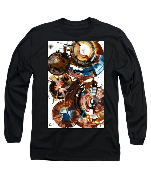 Long Sleeve T-Shirt featuring the painting Brown And Blue Spherical Joy - 992.042212 by Kris Haas