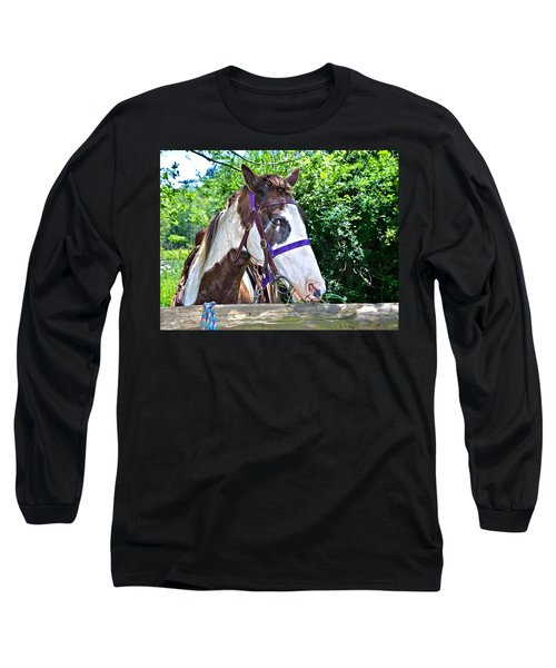Long Sleeve T-Shirt featuring the photograph Brown And White Horse by Susan Leggett