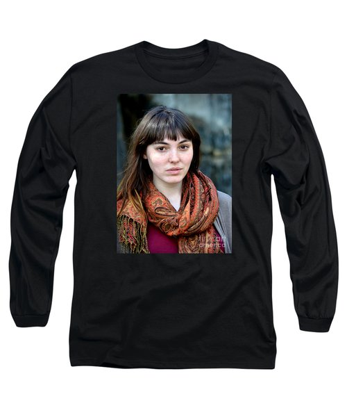 Long Sleeve T-Shirt featuring the photograph Brown Haired And Freckle Faced Natural Beauty Model Viii by Jim Fitzpatrick