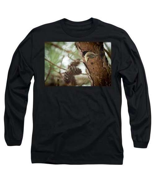 Brown Headed Nuthatch Long Sleeve T-Shirt by Linda Unger