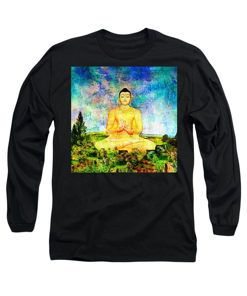 Buddha Long Sleeve T-Shirt by Ally  White