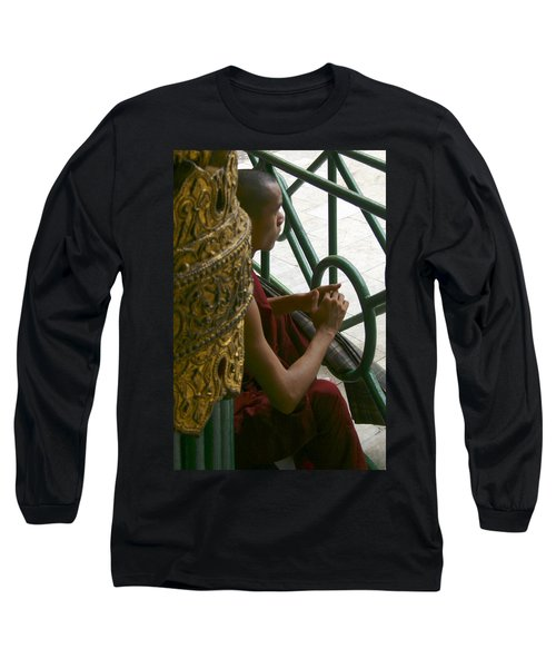 Buddhist Monk Leaning Against A Pillar Sule Pagoda Central Yangon Myanar Long Sleeve T-Shirt