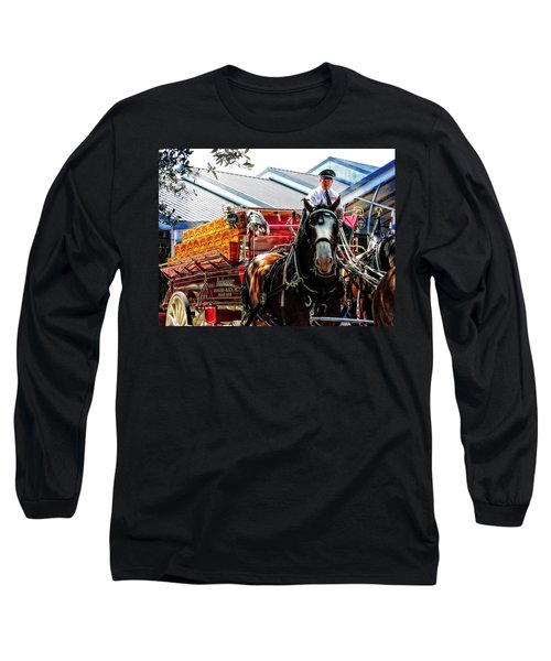 Long Sleeve T-Shirt featuring the photograph Budweiser Beer Wagon by Mike Martin