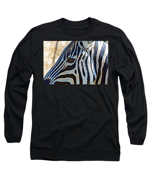 Burchell's Zebra's Face In Kruger National Park-south Africa Long Sleeve T-Shirt
