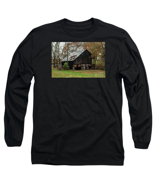 Long Sleeve T-Shirt featuring the photograph Burley Tobacco  Barn by Debbie Green