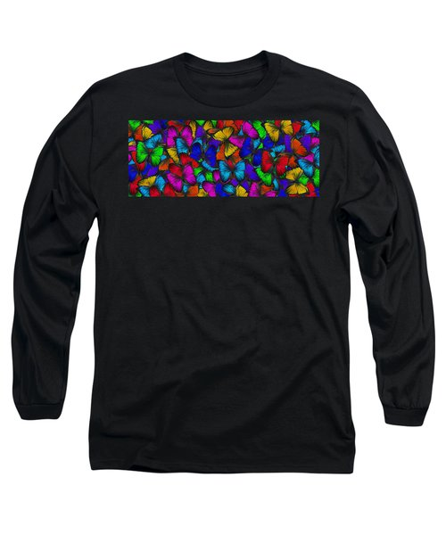 Long Sleeve T-Shirt featuring the photograph Butterflies In Flight Panorama by Kyle Hanson