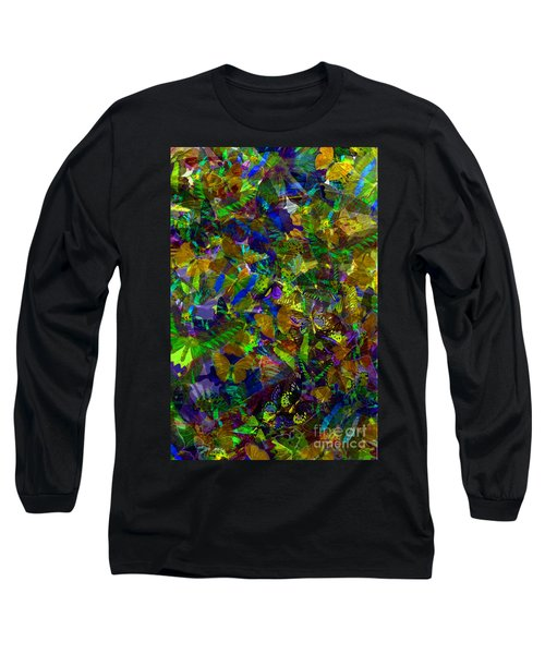 Long Sleeve T-Shirt featuring the photograph Butterfly Collage Yellow by Robert Meanor
