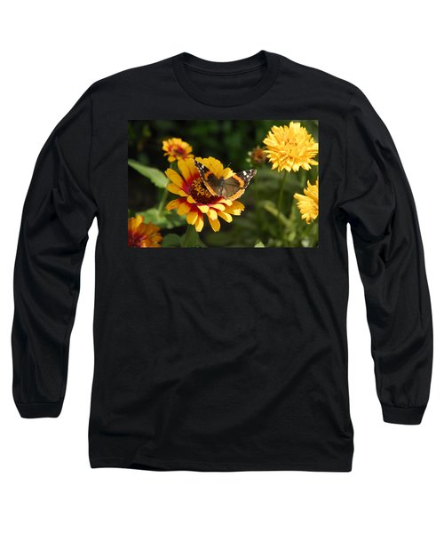 Butterfly On Flower Long Sleeve T-Shirt by Charles Beeler